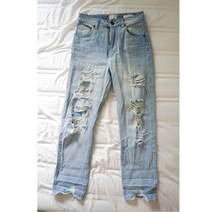 Cotton On Blue High Waist 90s Distressed Jeans
